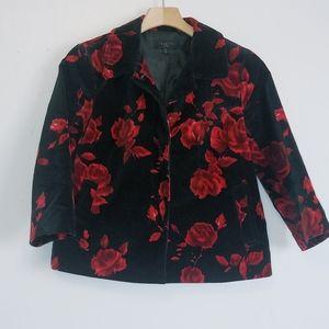 Talbots rose pattern cropped jacket